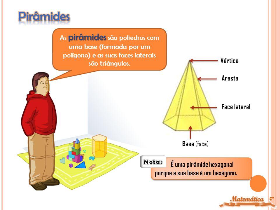 5º prismas Os prismas são poliedros com duas bases (polígonos) paralelas e geometricamente iguais.