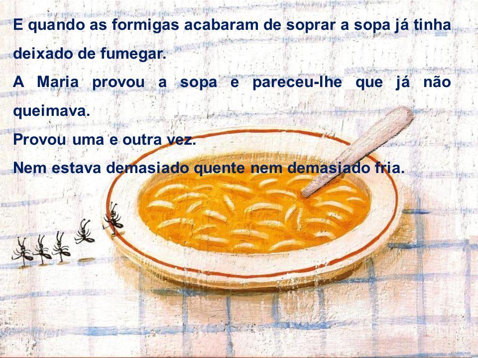 E quando as formigas acabaram de soprar a sopa já tinha deixado de fumegar. A Maria provou a sopa e pareceu-lhe que já não queimava. Provou uma e outr