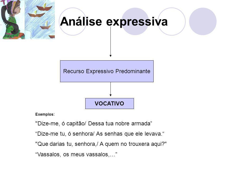 Análise expressiva Recurso Expressivo Predominante VOCATIVO Exemplos: