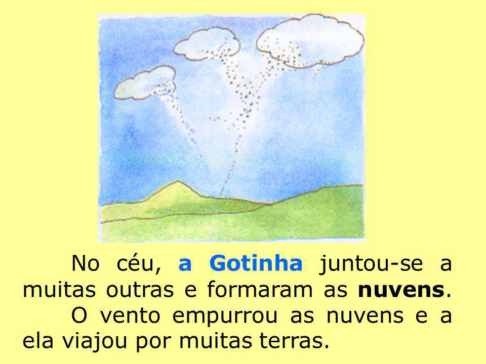 No céu, a Gotinha juntou-se a muitas outras e formaram as nuvens. O vento empurrou as nuvens e a ela viajou por muitas terras.