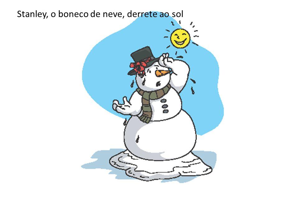 Stanley, o boneco de neve, derrete ao sol