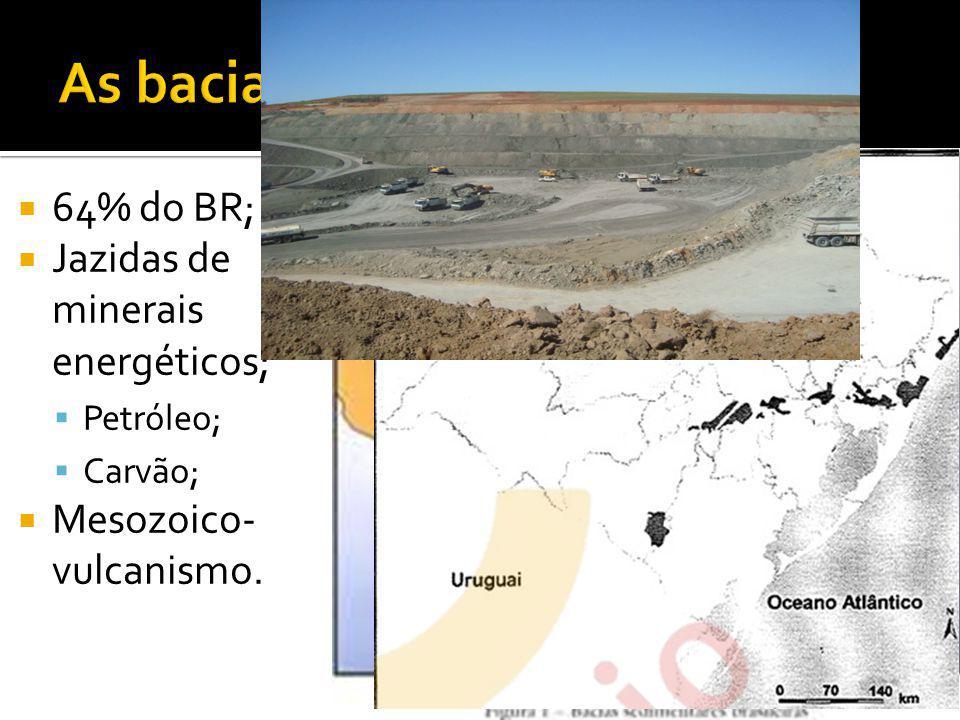 64% do BR; Jazidas de minerais energéticos; Petróleo; Carvão; Mesozoico- vulcanismo.