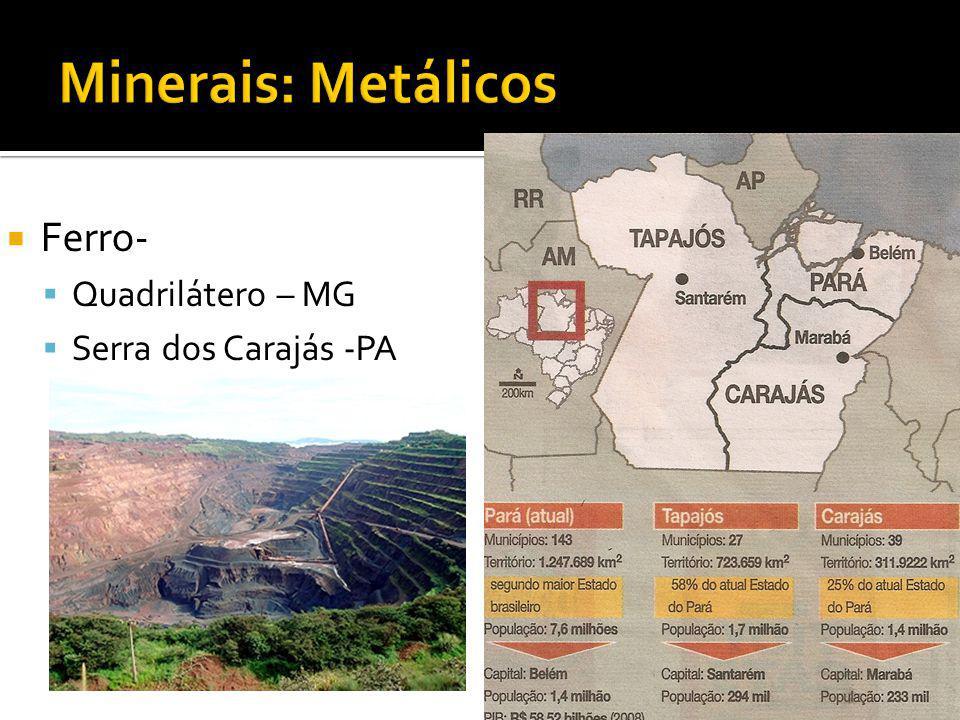 Ferro- Quadrilátero – MG Serra dos Carajás -PA