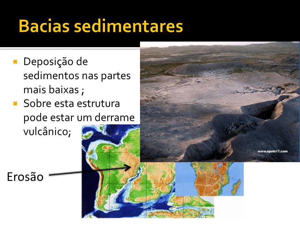 Deposição de sedimentos nas partes mais baixas ; Sobre esta estrutura pode estar um derrame vulcânico; Erosão