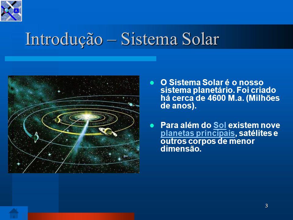 2 Diapositivo de sumário Introdução – Sistema Solar Sol Planetas do Sistema Solar Formação do Sistema Solar