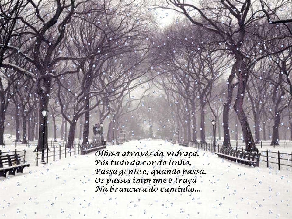 Fui ver. A neve caía Do azul cinzento do céu, Branca e leve, branca e fria... -Há quanto tempo a não via! E que saudades, Deus meu!