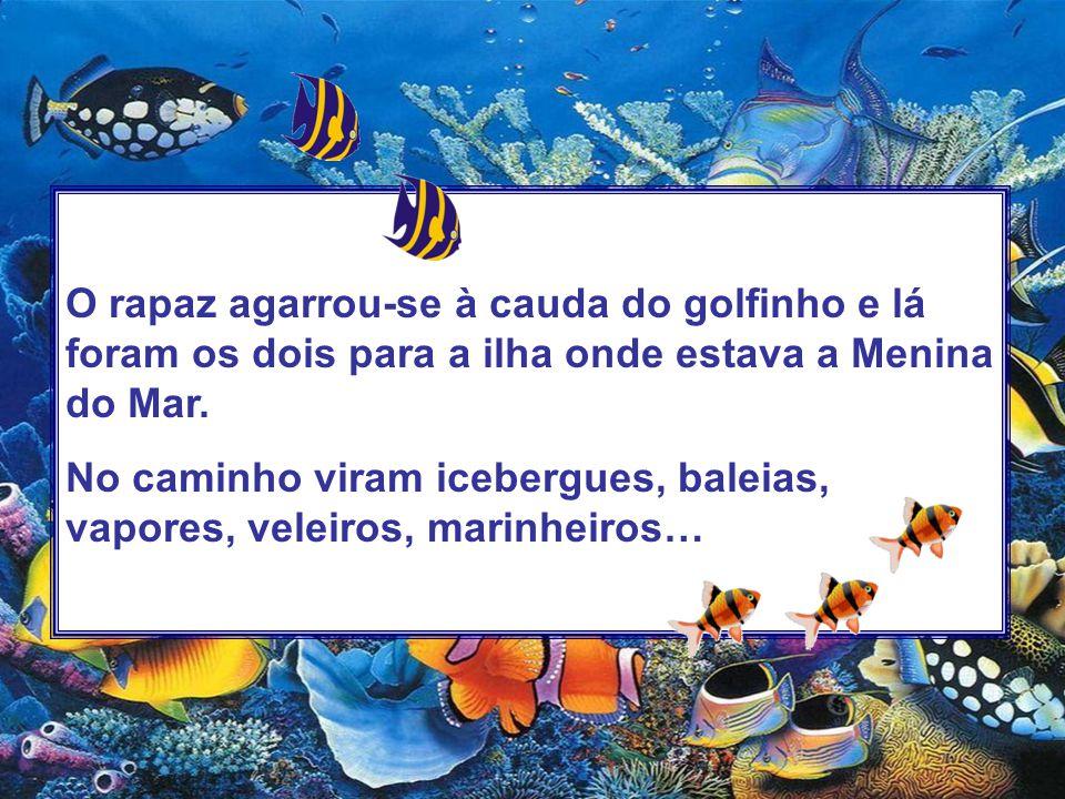 O rapaz agarrou-se à cauda do golfinho e lá foram os dois para a ilha onde estava a Menina do Mar. No caminho viram icebergues, baleias, vapores, vele