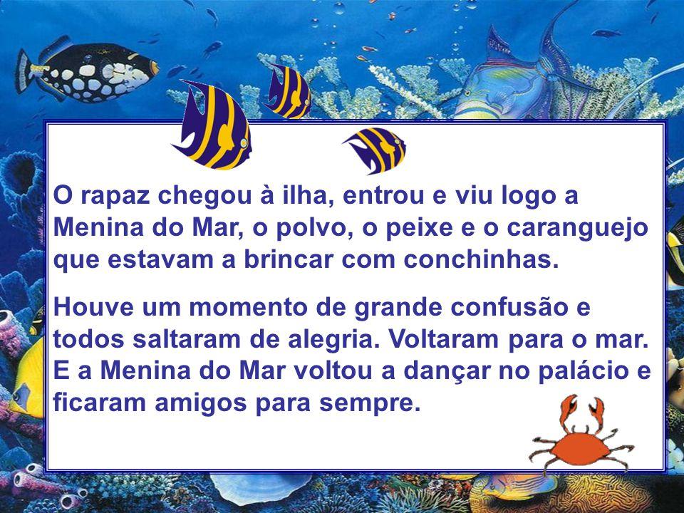 O rapaz chegou à ilha, entrou e viu logo a Menina do Mar, o polvo, o peixe e o caranguejo que estavam a brincar com conchinhas.