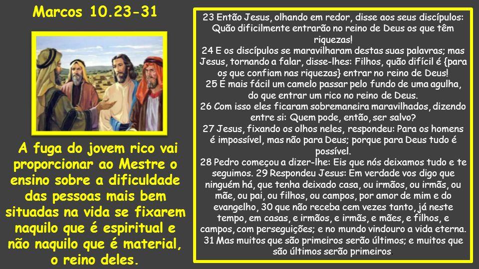 23 Então Jesus, olhando em redor, disse aos seus discípulos: Quão dificilmente entrarão no reino de Deus os que têm riquezas.