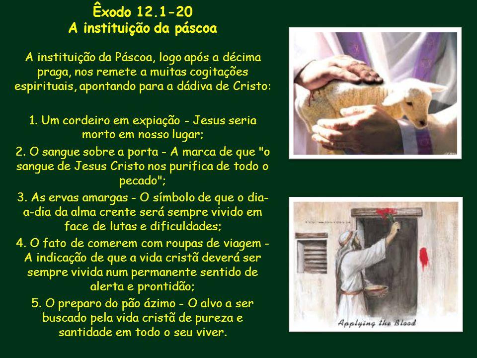 Êxodo 12.1-20 A instituição da páscoa A instituição da Páscoa, logo após a décima praga, nos remete a muitas cogitações espirituais, apontando para a