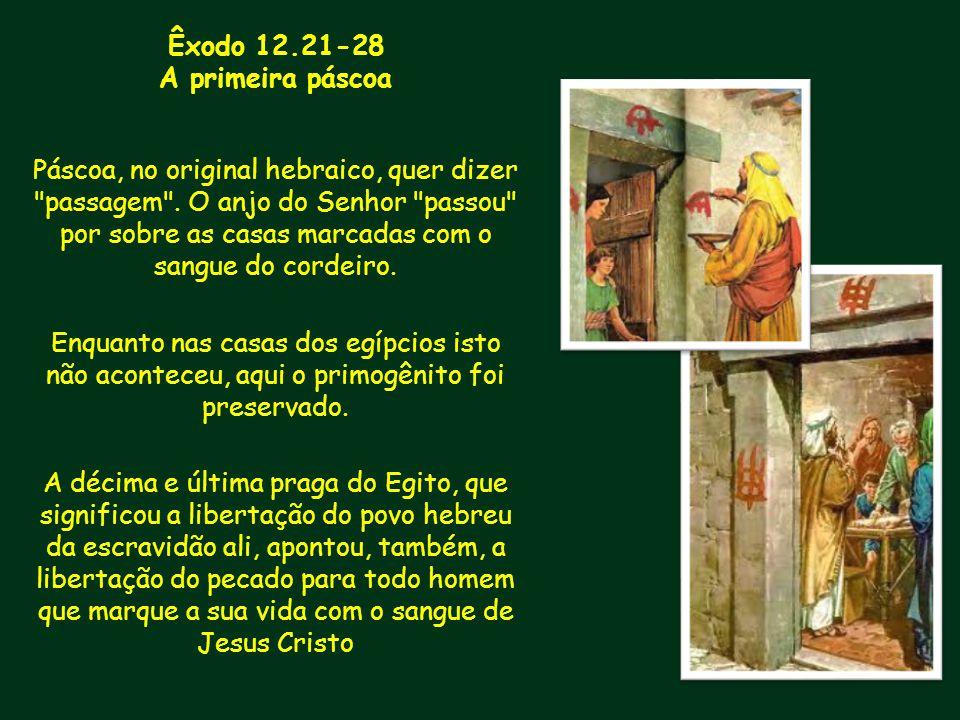 Êxodo 12.21-28 A primeira páscoa Páscoa, no original hebraico, quer dizer