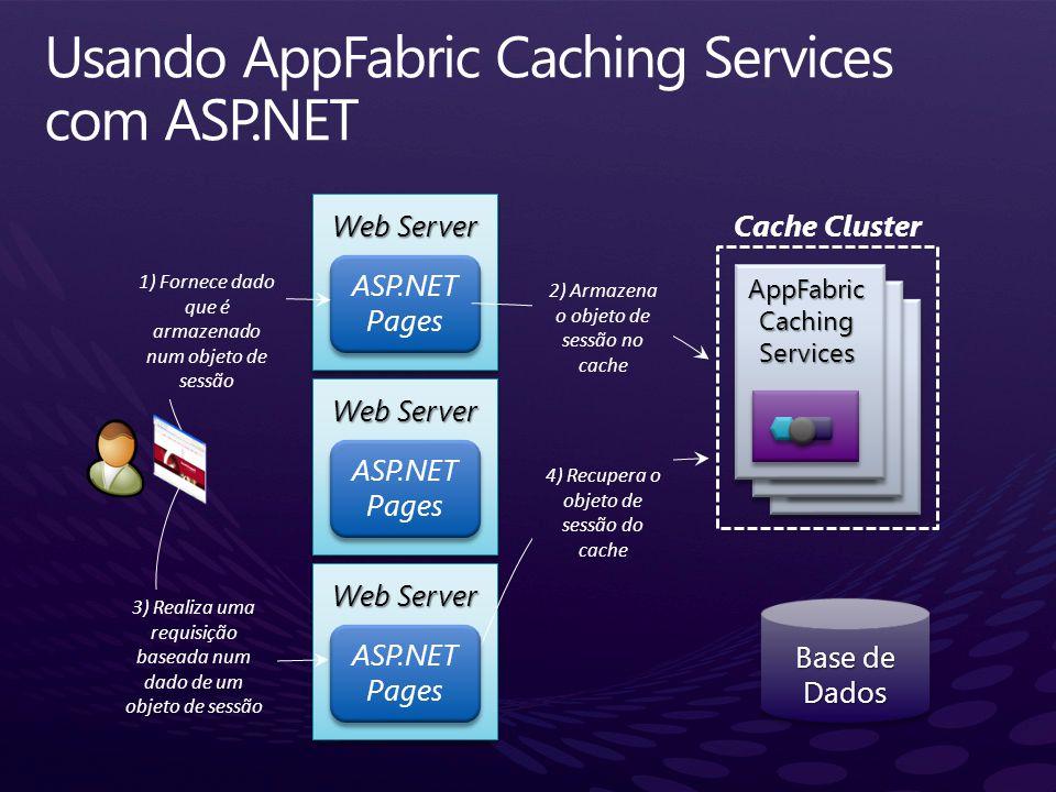 Web Server ASP.NET Pages Web Server ASP.NET Pages 1) Fornece dado que é armazenado num objeto de sessão 2) Armazena o objeto de sessão no cache 3) Rea