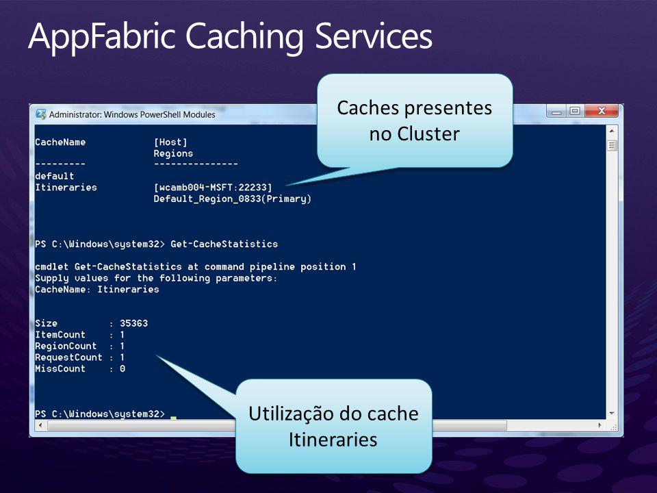 Utilização do cache Itineraries Caches presentes no Cluster