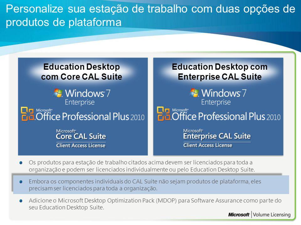 Education Desktop com Core CAL Suite Education Desktop com Enterprise CAL Suite Os produtos para estação de trabalho citados acima devem ser licenciad