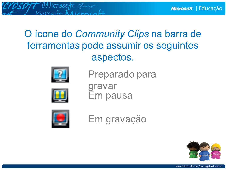 O ícone do Community Clips na barra de ferramentas pode assumir os seguintes aspectos.