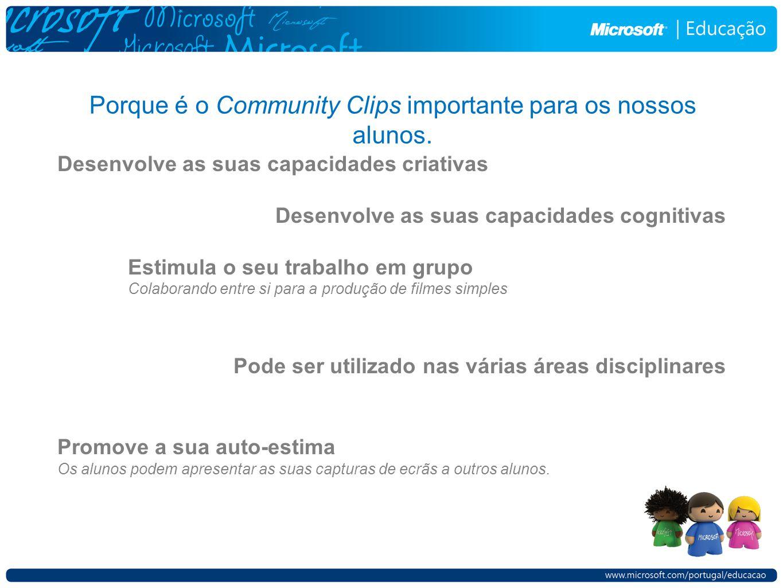 Porque é o Community Clips importante para os nossos alunos.