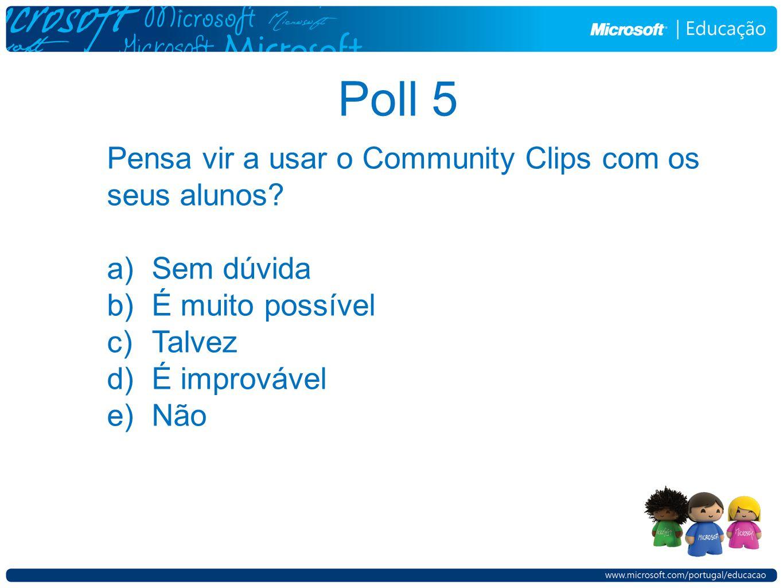 Poll 5 Pensa vir a usar o Community Clips com os seus alunos.