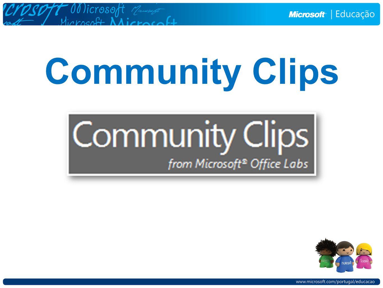 Clicando com o botão direito do rato sobre o ícone do Community Clips teremos este menu.