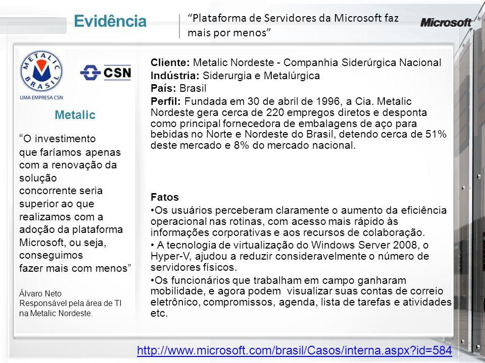 Evidência Cliente: Metalic Nordeste - Companhia Siderúrgica Nacional Indústria: Siderurgia e Metalúrgica País: Brasil Perfil: Fundada em 30 de abril d