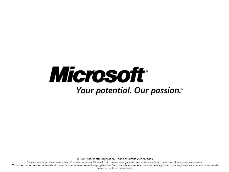 © 2009 Microsoft Corporation. Todos os direitos reservados. Esta apresentação destina-se a fins informativos apenas. Microsoft não dá nenhuma garantia