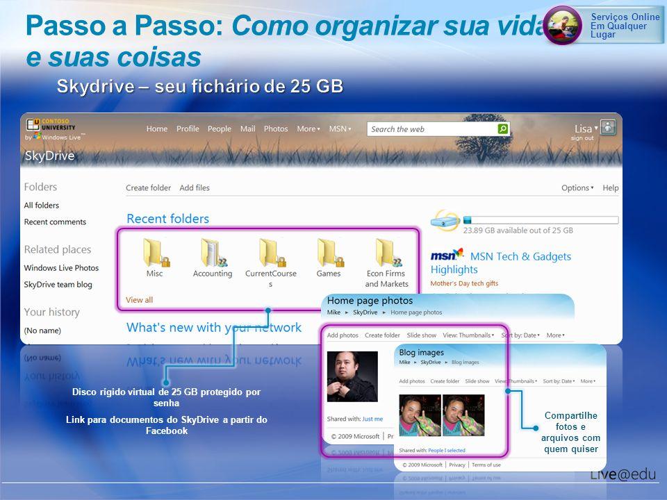 Passo a Passo: Como organizar sua vida e suas coisas Disco rígido virtual de 25 GB protegido por senha Link para documentos do SkyDrive a partir do Fa