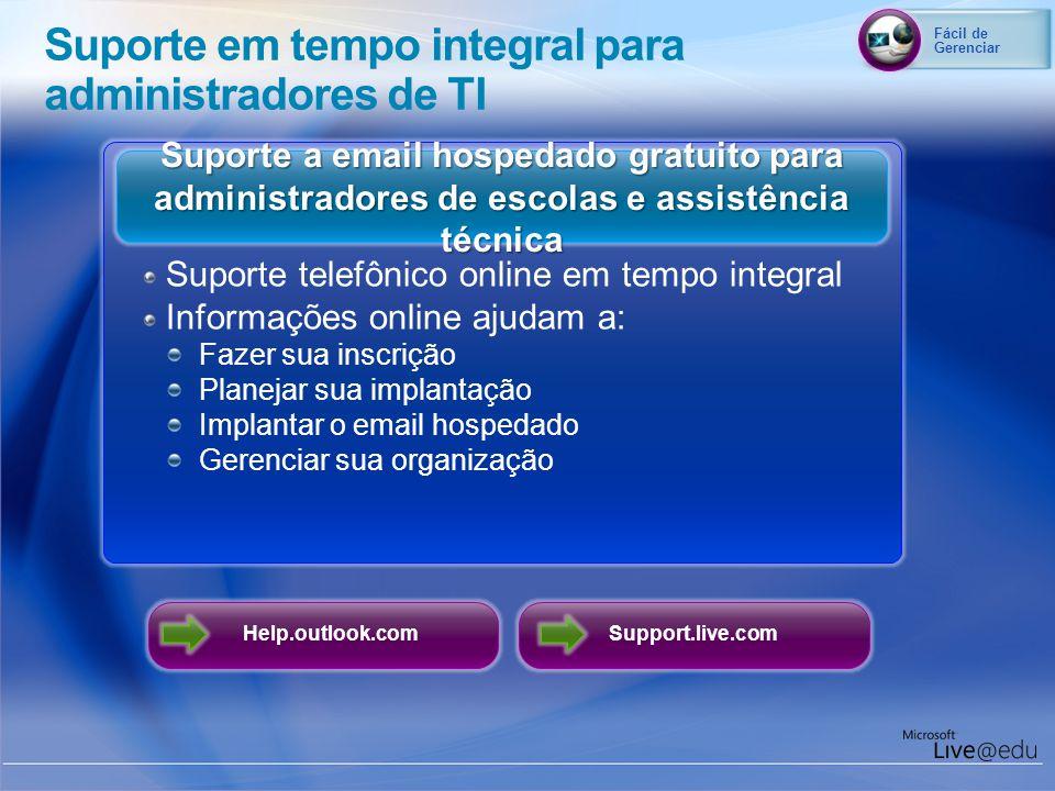 Help.outlook.com Suporte a email hospedado gratuito para administradores de escolas e assistência técnica Suporte telefônico online em tempo integral