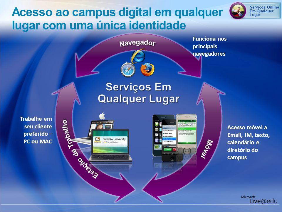 Acesso móvel a Email, IM, texto, calendário e diretório do campus Funciona nos principais navegadores Trabalhe em seu cliente preferido – PC ou MAC Ac