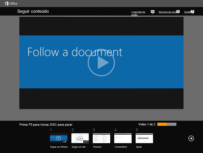 51 234 Resumo do cursoAjuda Uma forma simples de controlar os documentos e outros itens na sua biblioteca do SkyDrive Pro é seguir um desses itens. Pa
