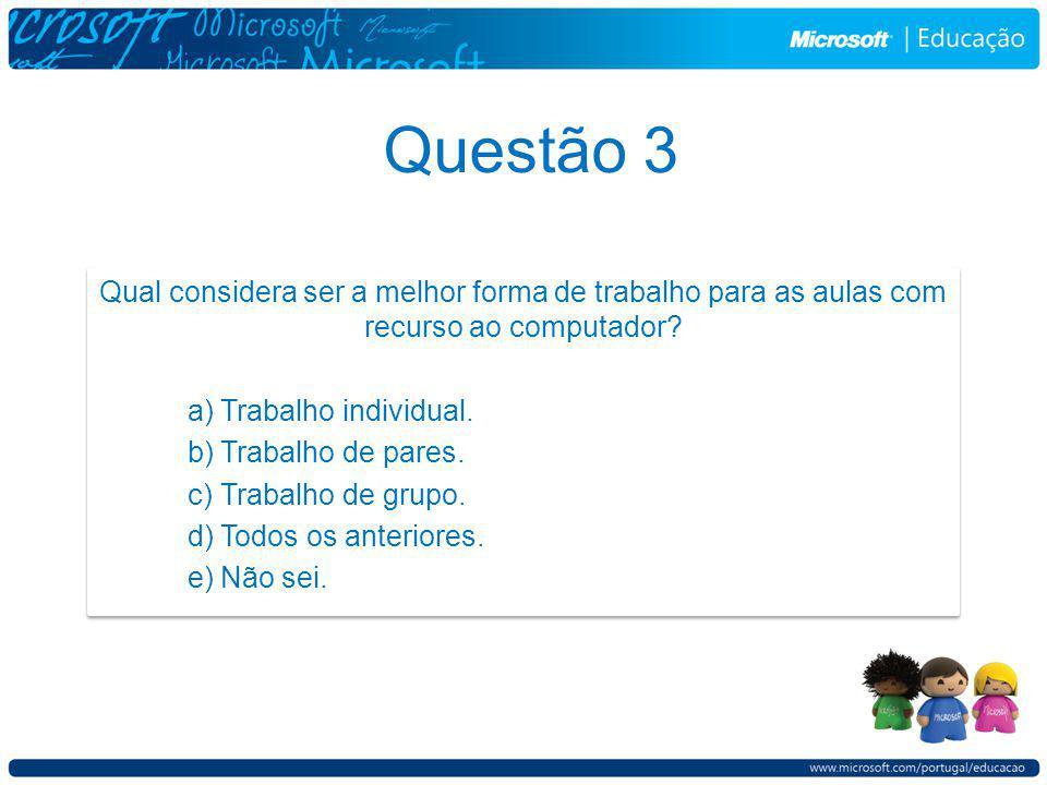 Questão 3 Qual considera ser a melhor forma de trabalho para as aulas com recurso ao computador.
