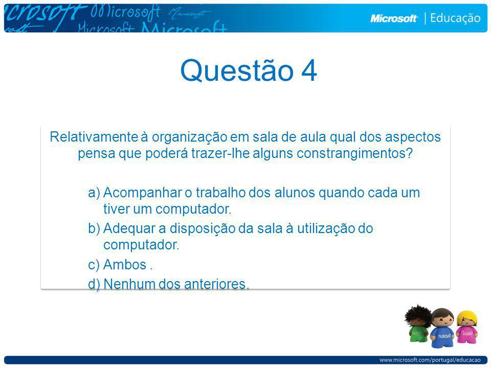 Questão 4 Relativamente à organização em sala de aula qual dos aspectos pensa que poderá trazer-lhe alguns constrangimentos.