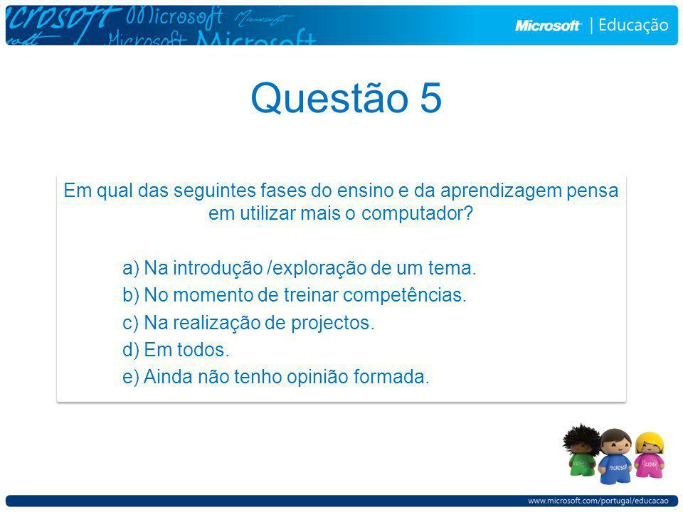 Questão 5 Em qual das seguintes fases do ensino e da aprendizagem pensa em utilizar mais o computador.