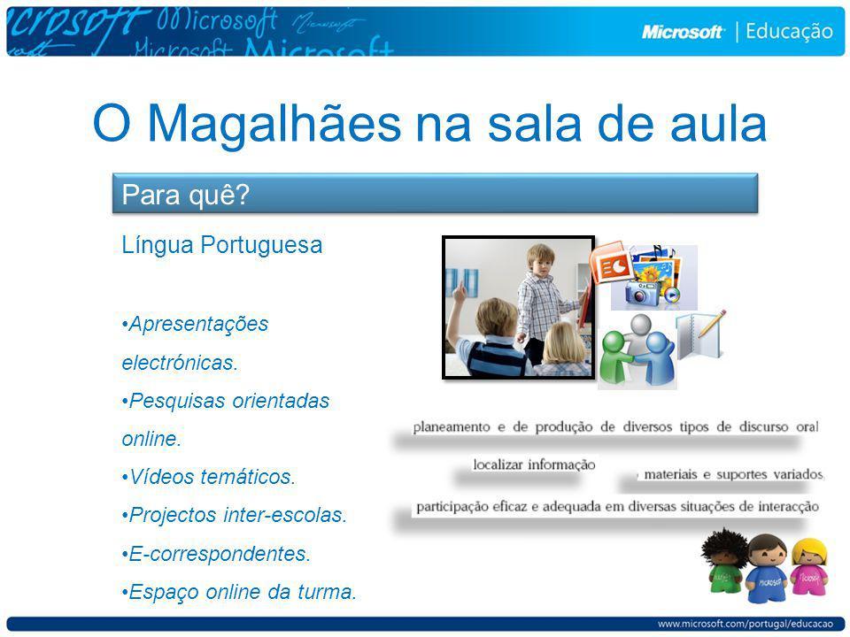 O Magalhães na sala de aula Para quê. Língua Portuguesa Apresentações electrónicas.