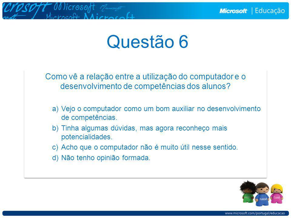 Questão 6 Como vê a relação entre a utilização do computador e o desenvolvimento de competências dos alunos.