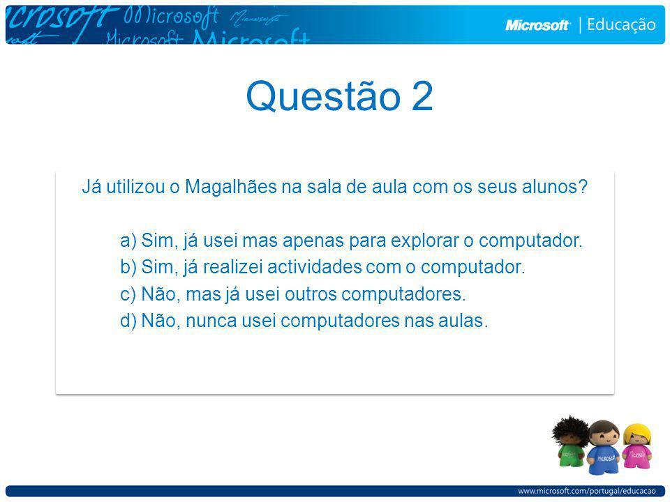 Questão 2 Já utilizou o Magalhães na sala de aula com os seus alunos.