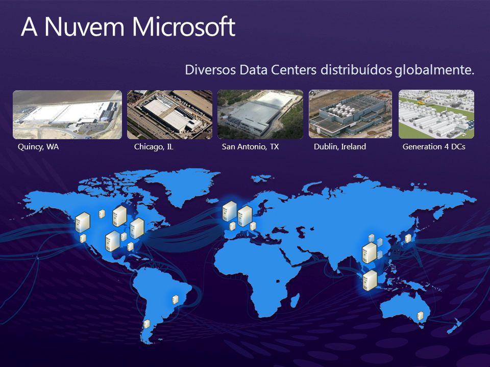 Diversos Data Centers distribuídos globalmente.
