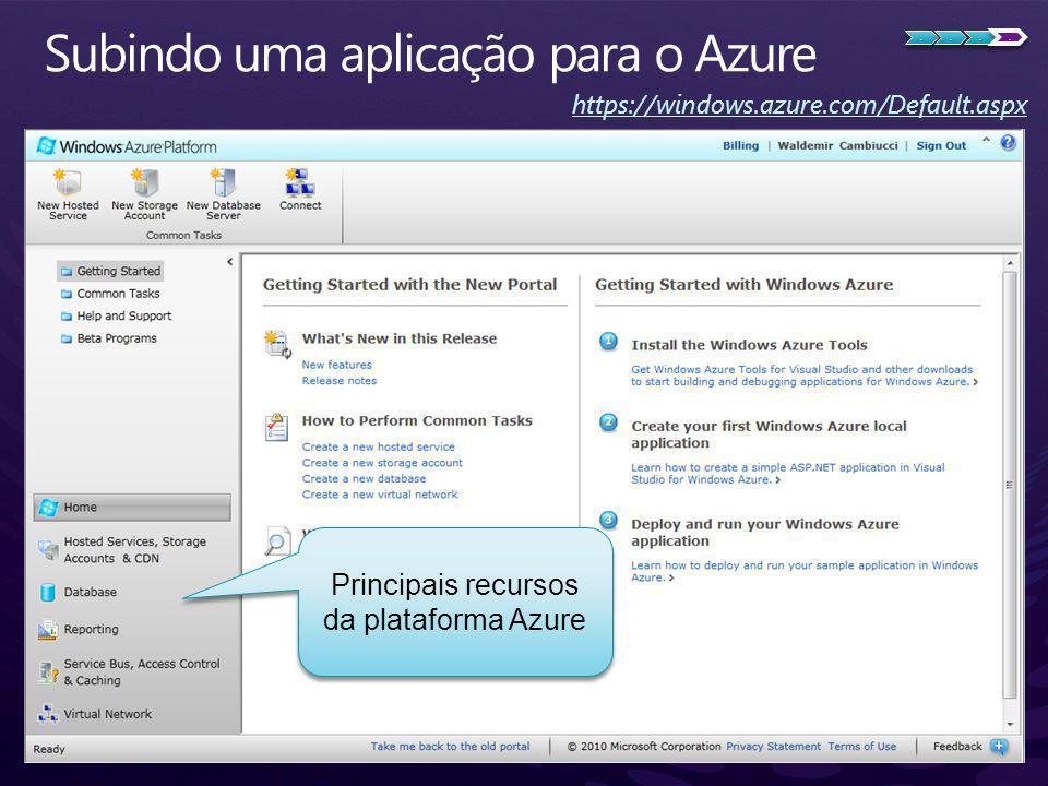 https://windows.azure.com/Default.aspx Principais recursos da plataforma Azure....