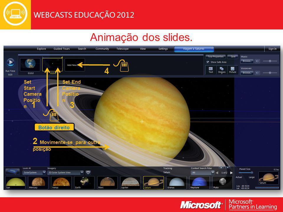 WEBCASTS EDUCAÇÃO 2012 Animação dos slides.