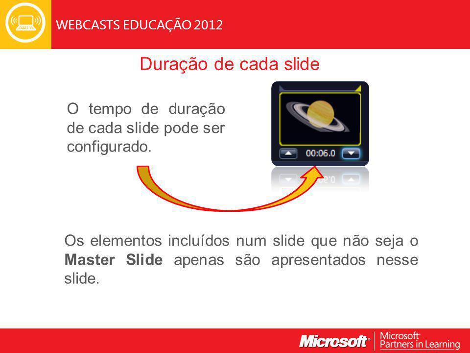WEBCASTS EDUCAÇÃO 2012 Duração de cada slide O tempo de duração de cada slide pode ser configurado.