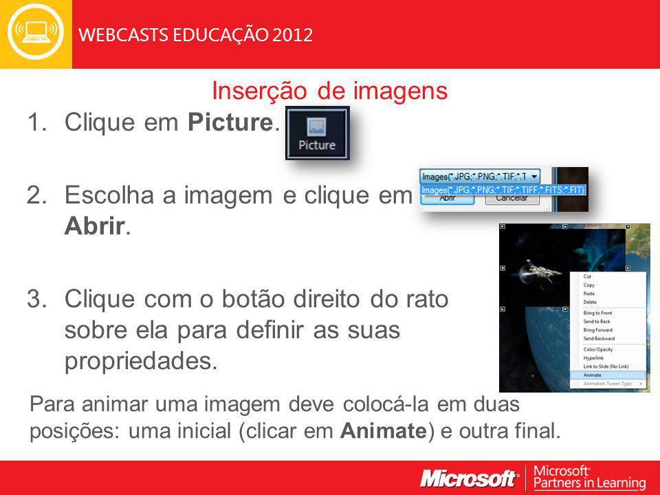 WEBCASTS EDUCAÇÃO 2012 Inserção de imagens 1. Clique em Picture.