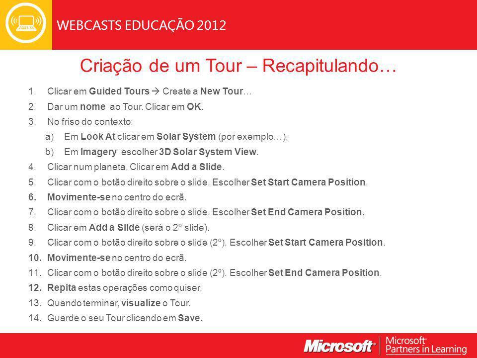 WEBCASTS EDUCAÇÃO 2012 Criação de um Tour – Recapitulando… 1.