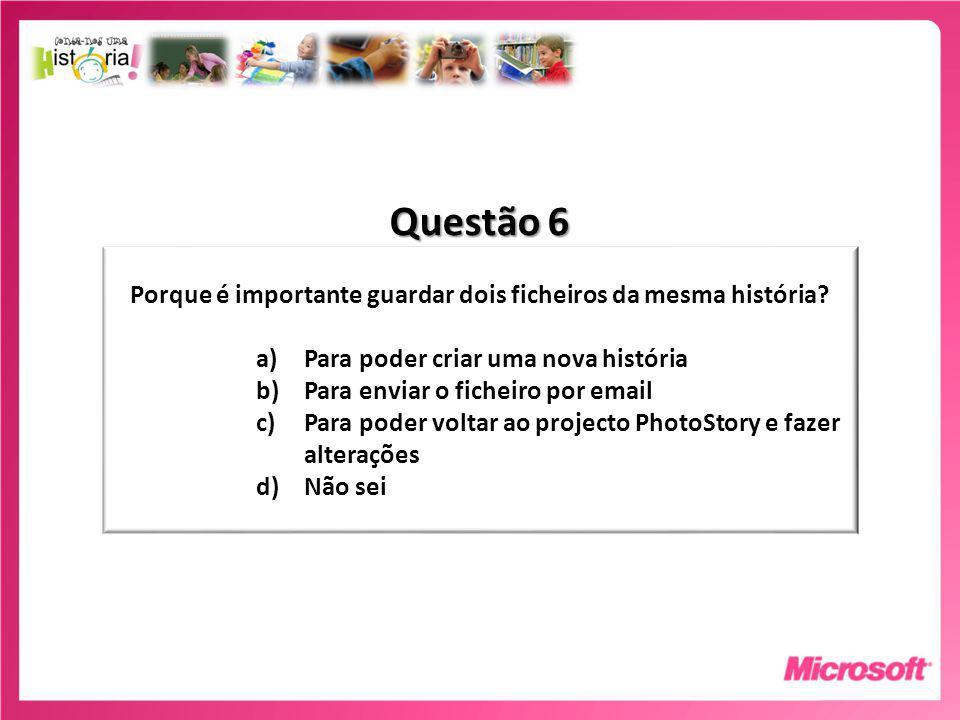 Questão 6 Porque é importante guardar dois ficheiros da mesma história.