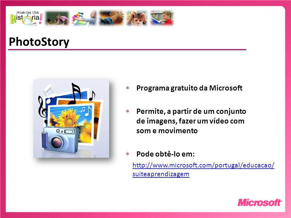 Fazer um projecto PhotoStory A narração Definir previamente a narração por imagens Ensaie com os alunos antes de gravar.