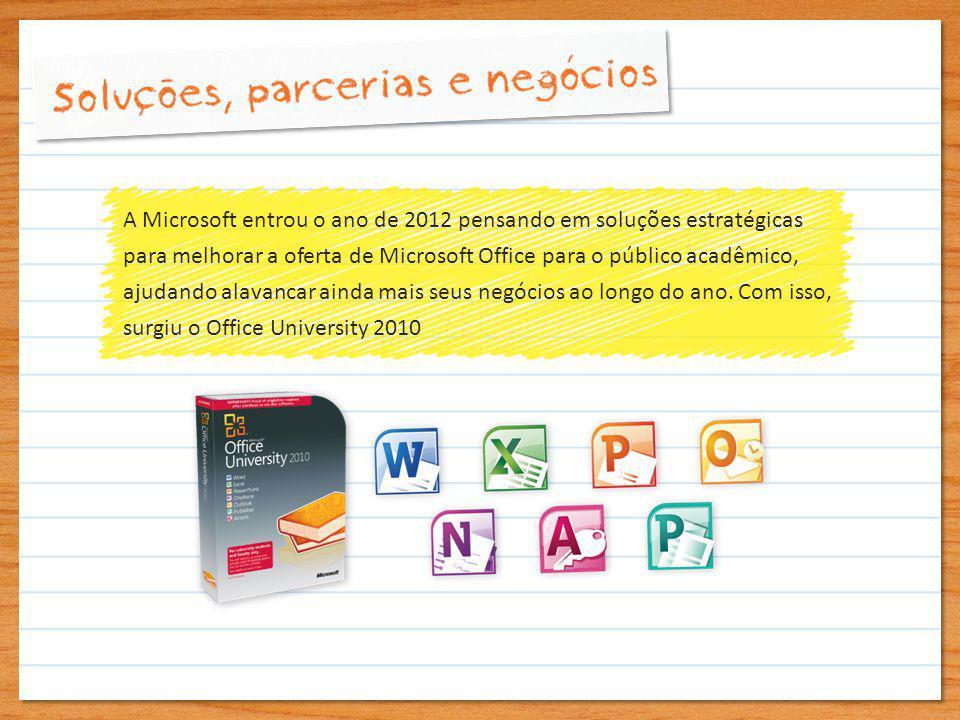 A Microsoft entrou o ano de 2012 pensando em soluções estratégicas para melhorar a oferta de Microsoft Office para o público acadêmico, ajudando alavancar ainda mais seus negócios ao longo do ano.