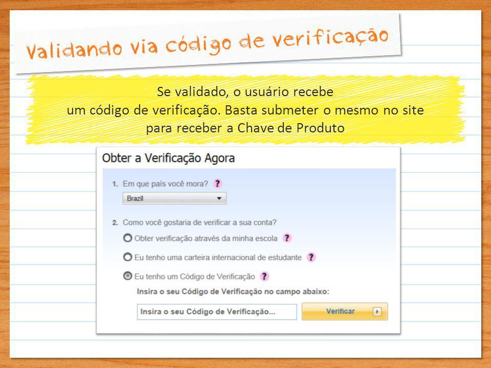 Se validado, o usuário recebe um código de verificação.