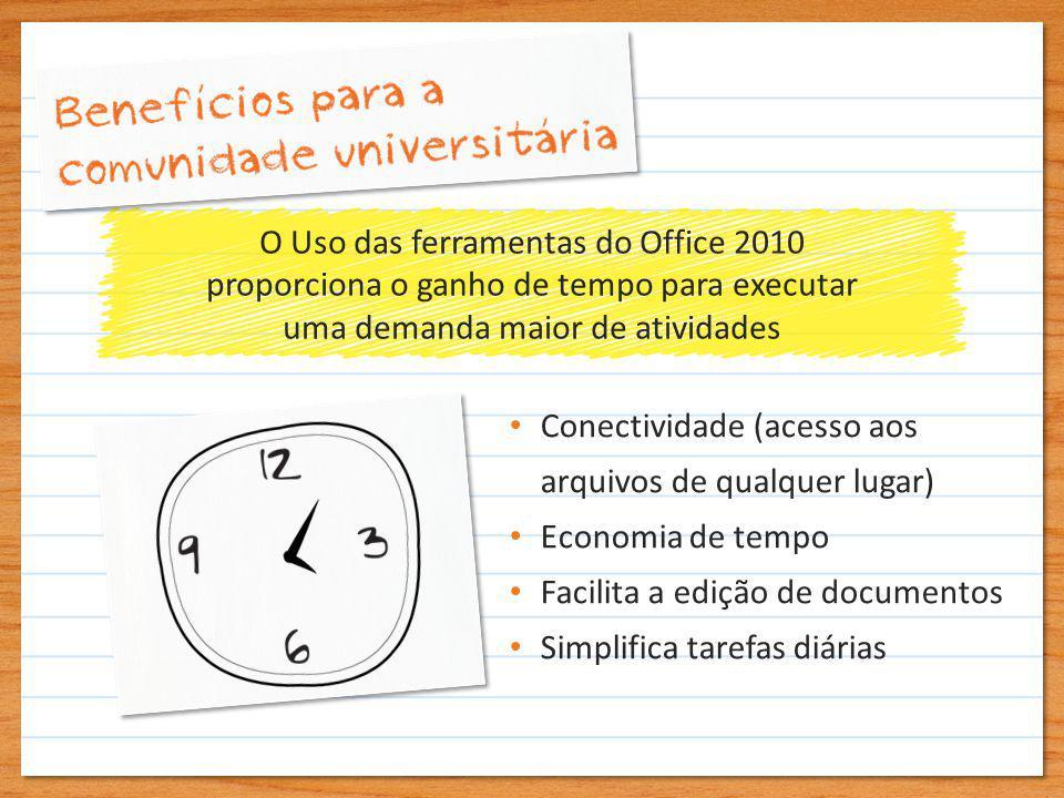 O Uso das ferramentas do Office 2010 proporciona o ganho de tempo para executar uma demanda maior de atividades Conectividade (acesso aos arquivos de qualquer lugar) Economia de tempo Facilita a edição de documentos Simplifica tarefas diárias