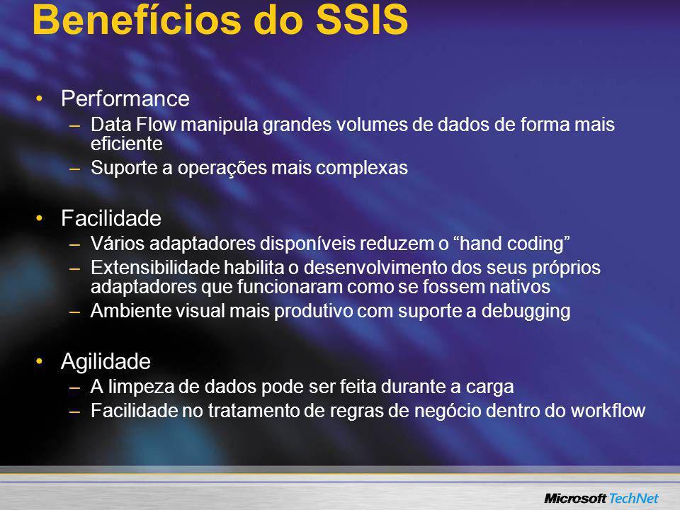 Benefícios do SSIS Performance – –Data Flow manipula grandes volumes de dados de forma mais eficiente – –Suporte a operações mais complexas Facilidade