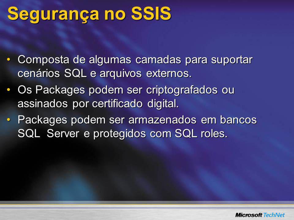 Segurança no SSIS Composta de algumas camadas para suportar cenários SQL e arquivos externos.Composta de algumas camadas para suportar cenários SQL e