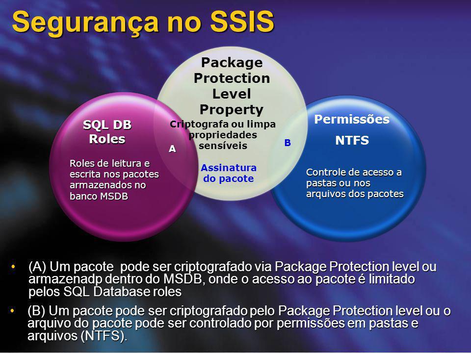 Segurança no SSIS (A) Um pacote pode ser criptografado via Package Protection level ou armazenadp dentro do MSDB, onde o acesso ao pacote é limitado p