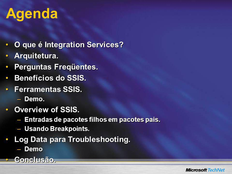SSIS Overview Tour pelo Business Intelligence Studio Tour pelo Business Intelligence Studio Connection Manager Connection Manager demo demo