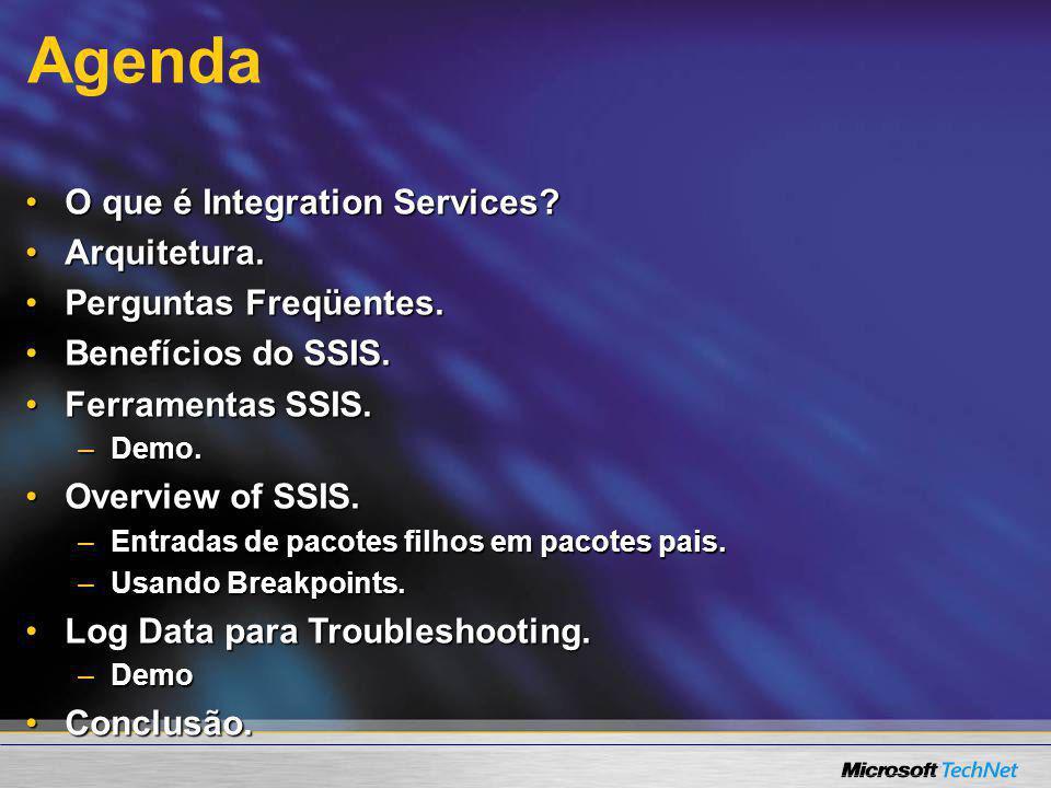 Agenda O que é Integration Services?O que é Integration Services? Arquitetura.Arquitetura. Perguntas Freqüentes.Perguntas Freqüentes. Benefícios do SS